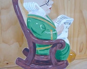 OOAK Painted wooden figure -- Grandpa's Retirement Fund -- a one dimensional piggy bank