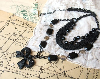 Victorian Bow Necklace  Black  Silver Multistrand Chain