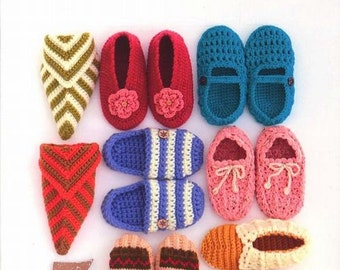 Hand Knit Warm Room Shoes, Slippers, Boot, Booties, Japanese Knitting & Crochet Pattern Book, Easy Hand Knitted Tutorial, Winter Home, B1317