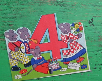 Vintage 30s 40s Birthday Card Age 4 Years Children's Greetings Card Nursery Art 1930s 1940s Mice Mouse UNUSED retro girls boys unisex card