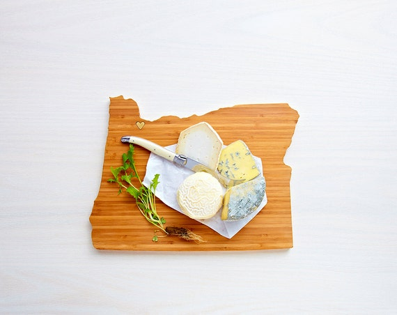 Oregon Cutting Board 4th of july Gift Personalized engraved Oregon cheese state shaped board