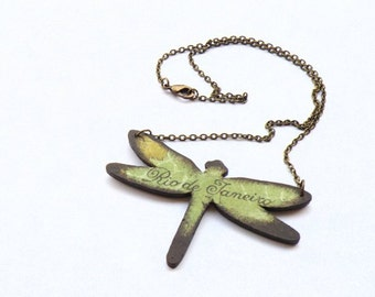 Decoupage dragonfly necklace with map of Rio De Janeiro
