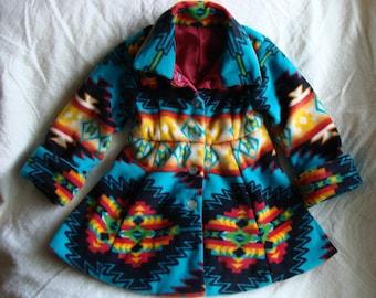 Peacoat - Turquoise Native Print Fleece