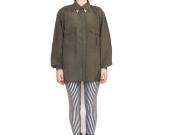80s Army Green Silk Shirt Olive Silk Blouse Collar Tips Long Sleeve Collared Button Down Shirt Minimal Modern Military Shirt (M/L)