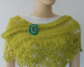 Yellow Green Lace Crochet Scarf Wrap Shawl Stole  with Brooch -   Agate Stone- Holiday Accessories -  Wedding Art - Bohemian Scarf