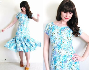 1950s Dress / Floral 50s Dress / 1950s Mermaid Dress