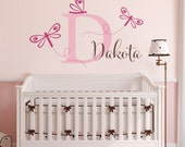 Girls Name Decal with Initial - Dragonfly Wall Decal - Initial Girls Name Dragonfly Decals - Large
