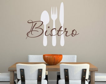 Bistro Wall Decal - Kitchen Decal - Kitchen Utensils Wall Art - Large