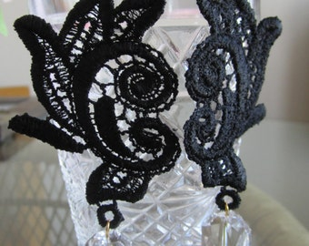 Long Black Venice Lace earrings with swaroski crystals