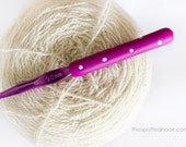 9mm Crochet Hook, Purple polymer clay handle with White polka dots, made to order, 5 other colours available