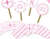 Ballet party - Personalized DIY printable cupcake wrapper and topper set