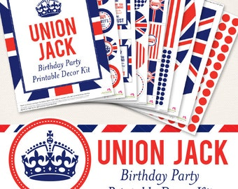 Union Jack birthday party printable decor kit - Over 45 pages of positively smashing printables!