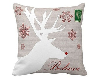 Christmas Holiday Pillow Cover Rudolph Reindeer Believe Cotton and Burlap Pillow