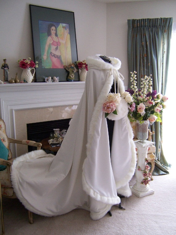 Victorian Bridal cape 75 inch Ivory / Ivory  Satin with Fur Trim Wedding Cloak  Handmade in USA