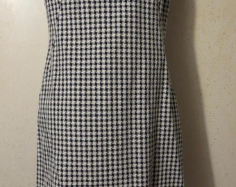 Vtg 60s Navy Blue and White Houndstooth Plaid Abstract Gingham Sleeveless Wiggle Dress