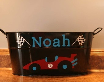 Personalized Race-car with checkered flags bucket for boys