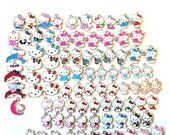 Hello Look at these 87 cute Kitty Charms mostly matching Sets pink blue red black purple green
