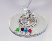 Glass Wine Glass Charms- Set of Four