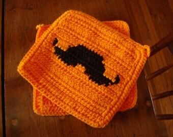 Orange Mustache Potholders - Black Handlebar Mustache - Mustache Silhouette - Crochet Pot Holders, Hot Pads, Trivet Set - Ready To Ship