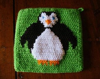 Penguin Pot Holder Lime Green Penguin Potholder Crochet Crocheted Potholder Hot Pad Penguin Kitchen Gift Housewarming Present MADE TO ORDER