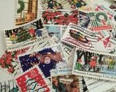 45 Christmas Postage Stamps, Vintage Stamps, Santa, Christmas Tree, Christmas Crafting