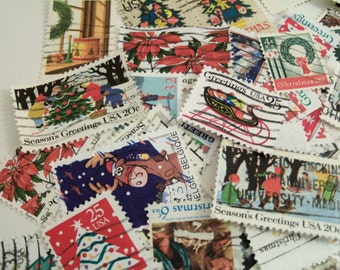 45 Christmas Postage Stamps, Vintage Stamps, Postage stamps, Christmas Crafting, Used Stamps, Paper crafting