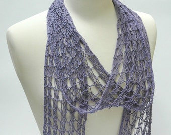 Cotton& Hemp Scarf- Hand Knit/ Lavender