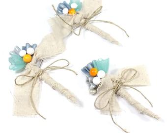Blue yellow wedding Boutonnieres, aqua mustard rustic nautical beach wedding accessory for groomsmen