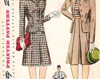 Simplicity 4548 / Vintage 40s Sewing Pattern / Jacket Skirt Suit / Size 14