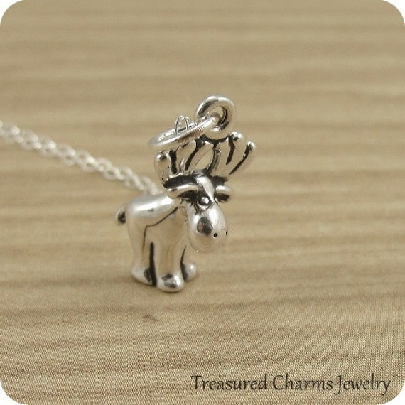 Moose Necklace, Sterling Silver Moose Charm on a Silver Cable Chain