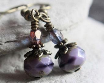 Purple Czech Glass Bead Earrings - A.1588