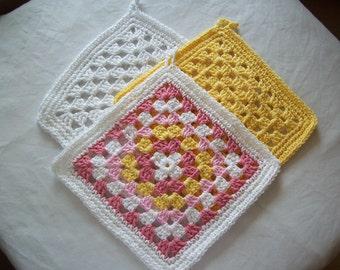 Cotton Dishcloths; Set of Three; Granny Squares with trim