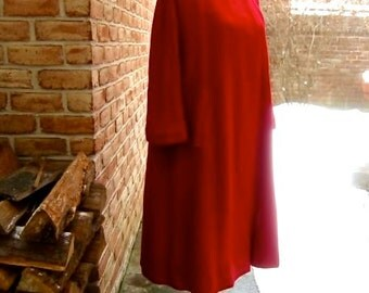 1950s Wool Hopsack Coat Raspberry Red Stroock Crepe Lining Frank R Jelleff Washington DC Gorgeous Color & Cut