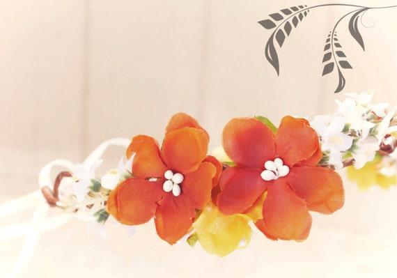Autumn floral crown, orange cherry blossom hair crown, Fall Bridal Flower Crown, Autumn wedding headpiece, hair accessories, flower girl