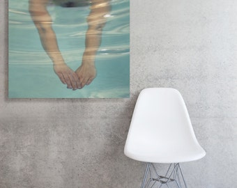 Swimming Mid Century Pool Modern Stretched and Mounted Large Canvas