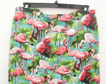 flamingoes print cotton mini skirt with orange zip size UK 14 L handmade individual bold o.o.a.k.
