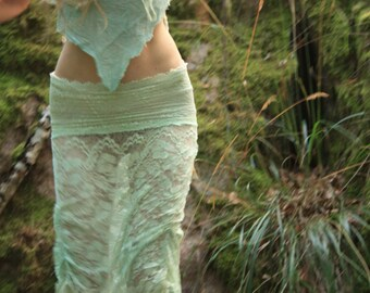 Ethereal sea foam whimsical burning man burlesque lace mermaid skirt