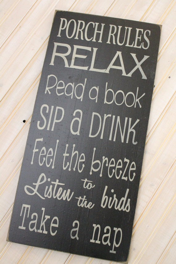 Items similar to Porch Rules Sign Custom Vintage Style ...