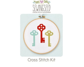 Colorful Skeleton Keys Cross Stitch Kit, DIY Craft Kit, DIY Home Decor, Easy Kit, Beginner Kit, Embroidery Kit