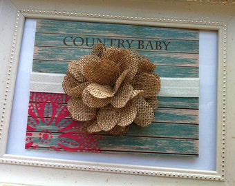 Burlap Flower Headband...Baby Burlap Flower Headband...Newborn Burlap Headband