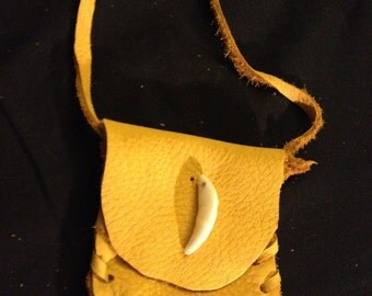 coyote tooth medicine bag Native American made