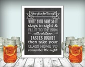 Wedding Mason Jar Glass Drinks Sign Chalkboard Printable 11x14 PDF Instant Download Rustic Take Your Glass Home To Remember The Night