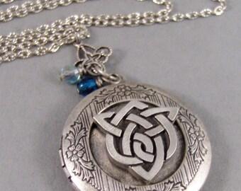 Sisters Locket,Locket,Silver Locket,Celtic Locket,Sisters Knot,Birthstone,Antique Locket,Celtic Knot,Irish,Shamrock.sister valleygirldesign