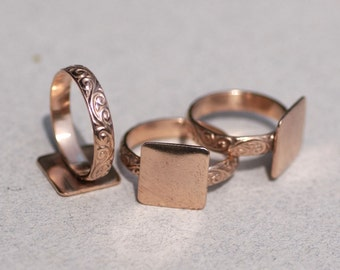 Copper Flourish Ring with Square Glue Pad Finding for Gluing - Size 7