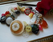 Hearts and Pearls Vintage Button Bracelet