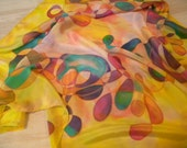 Multicolored abstract yellow artists scarf. Warm yellow + some cyan blue, purple, orange, pink hand painted silk square scarf OOAK