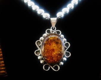 Big Bold Amber Pendant Sterling necklace Chunky