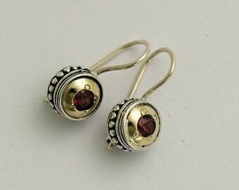 Sterling silver earrings, yellow gold earrings,  two tone earrings, everyday earrings, red garnet earrings - Love Drums E0287x