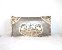 CARLOS FALCHI Vintage Snakeskin Leather Handbag Python Lizard Convertible Clutch - AUTHENTIC -