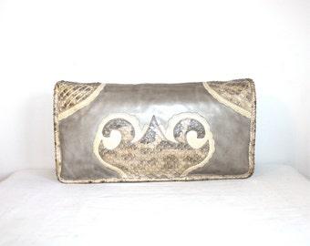 CARLOS FALCHI Vintage Snakeskin Leather Handbag Python Lizard Convertible Clutch - AUTHENTIC -